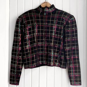 VTG St John Evening Plaid Sequin Cropped Sweater